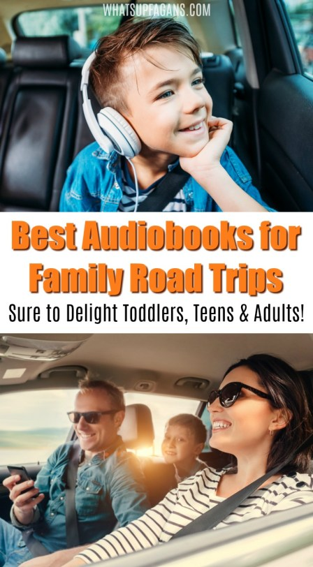 family taking road trip together in car, listening to best audiobooks for long family road trip