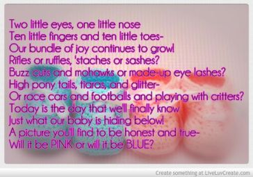 cute gender reveal poem