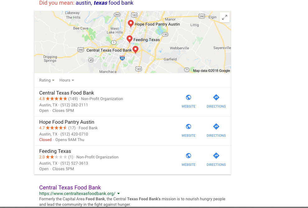 Austin, Texas Food Bank results on Google - great place to look for pregnant moms free food