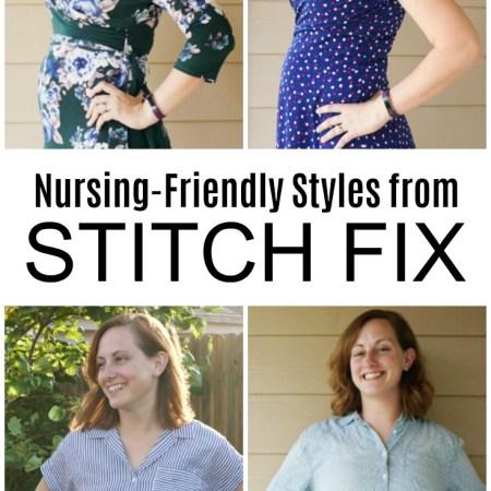Stitch Fix nursing tops and Stitch Fix nursing dresses on a nursing mom who breastfeeds. Feature nursing-friendly styles.