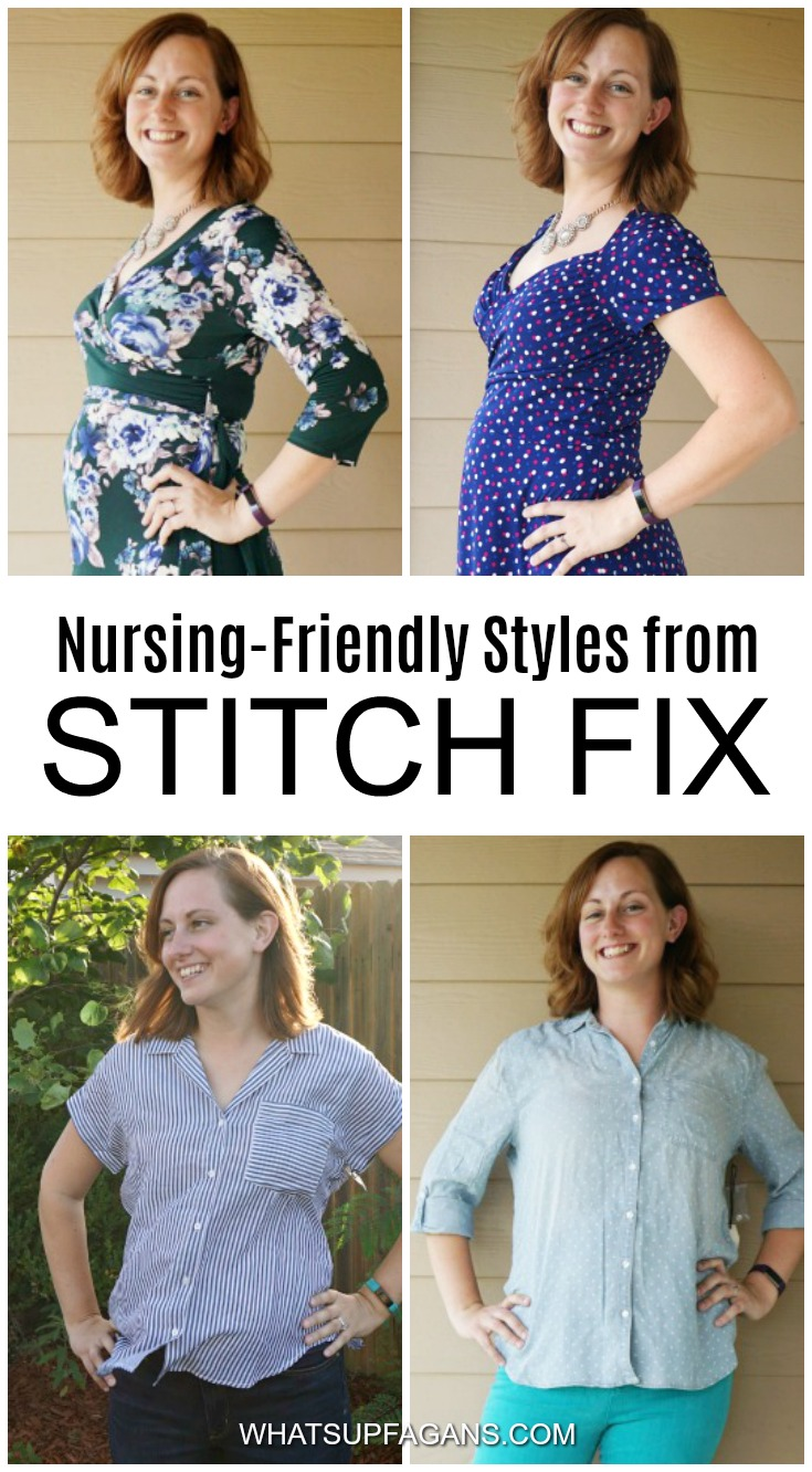Stitch Fix nursing tops and Stitch Fix nursing dresses for nursing moms who breastfeed their babies. Fun to see what Stitch Fix considers nursing-friendly styles. #StitchFix #clothes #clothing #nursingtops #nursingdresses #nursingclothes #breastfeeding #breastfeed #postpartum #clothingsubscriptionbox #subscriptionbox