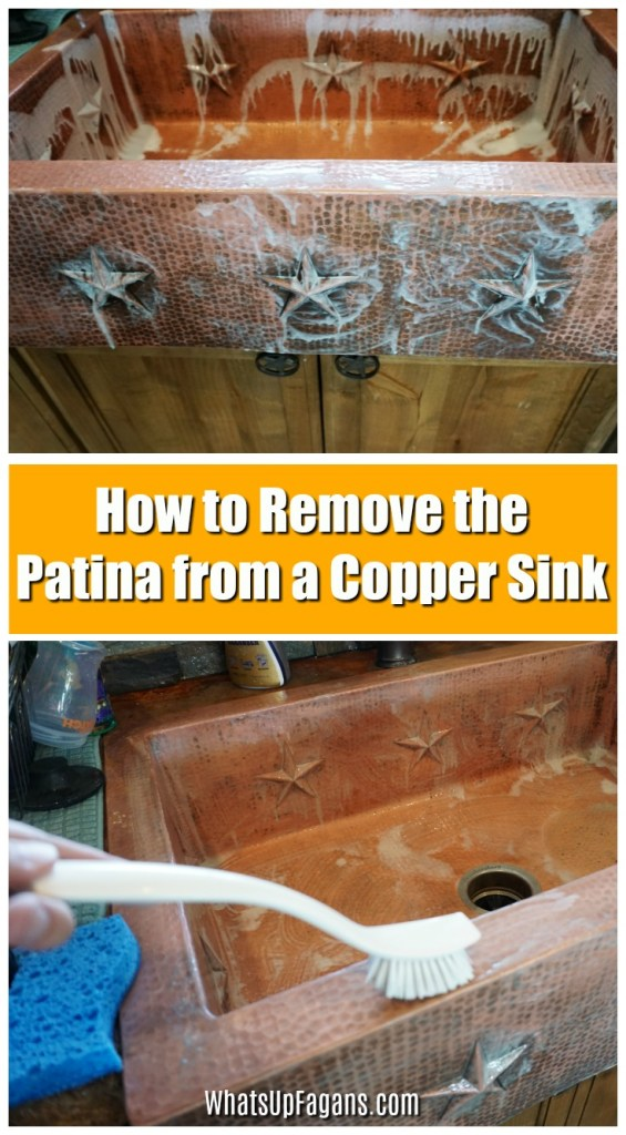 dirty copper sink being cleaned with copper sink cleaner in order to remove the copper patina