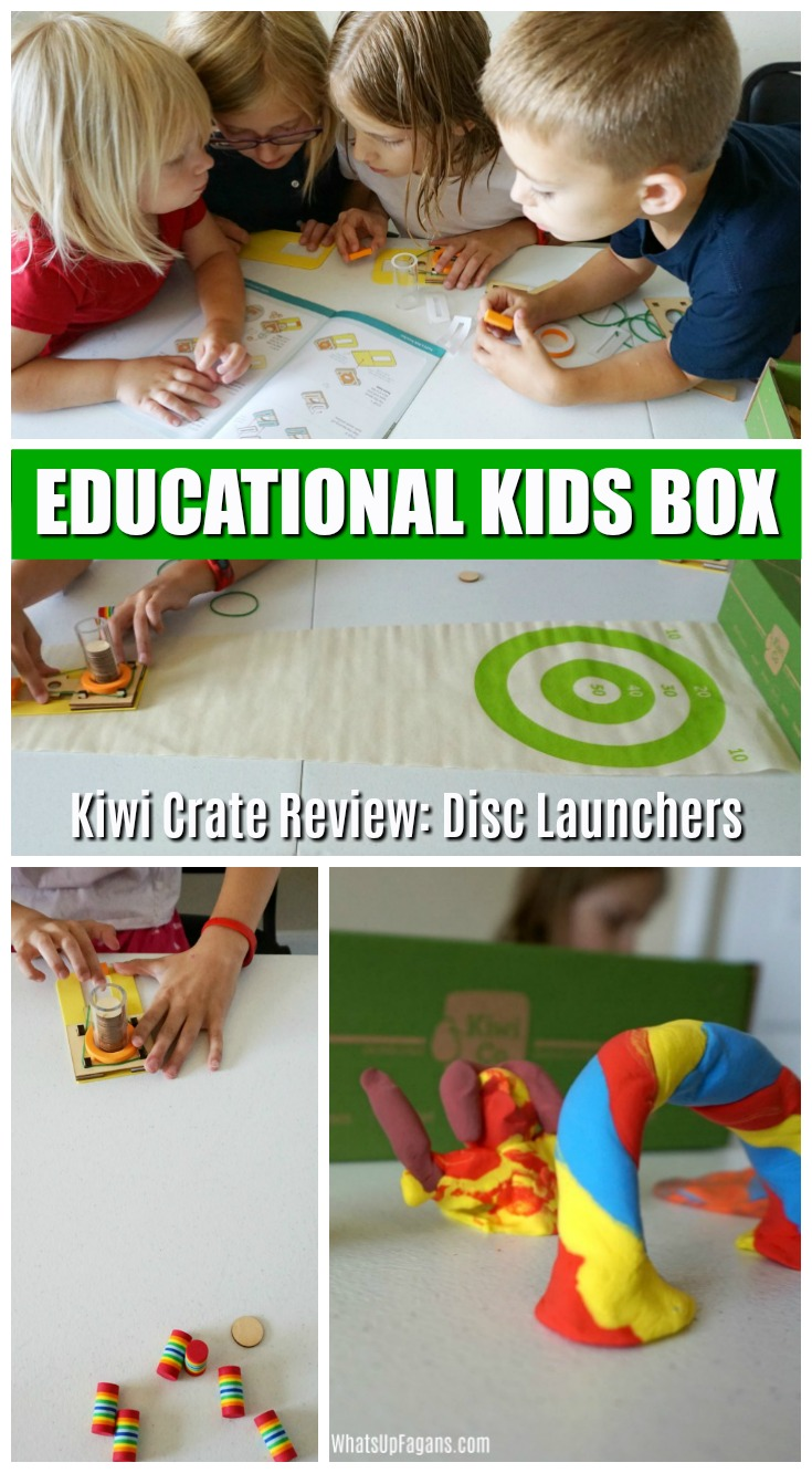 Super fun monthly educational subscription box service for preschoolers to age 8! Explore different science, art, and creativity projects each month. This review is great for the disc launcher one. #educational #preschool #kindergartner #kiwicrate #kiwico #subscriptionbox #kidscrafts #kidcraft #craftsforkids