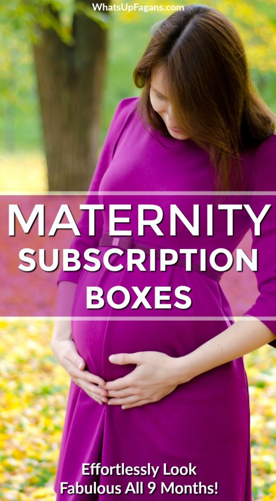 """pregnant woman wearing purple maternity dress in yellow leaves with text overlay saying """"maternity subscription boxes"""" and """"effortlessly look fabulous all 9 months"""""""