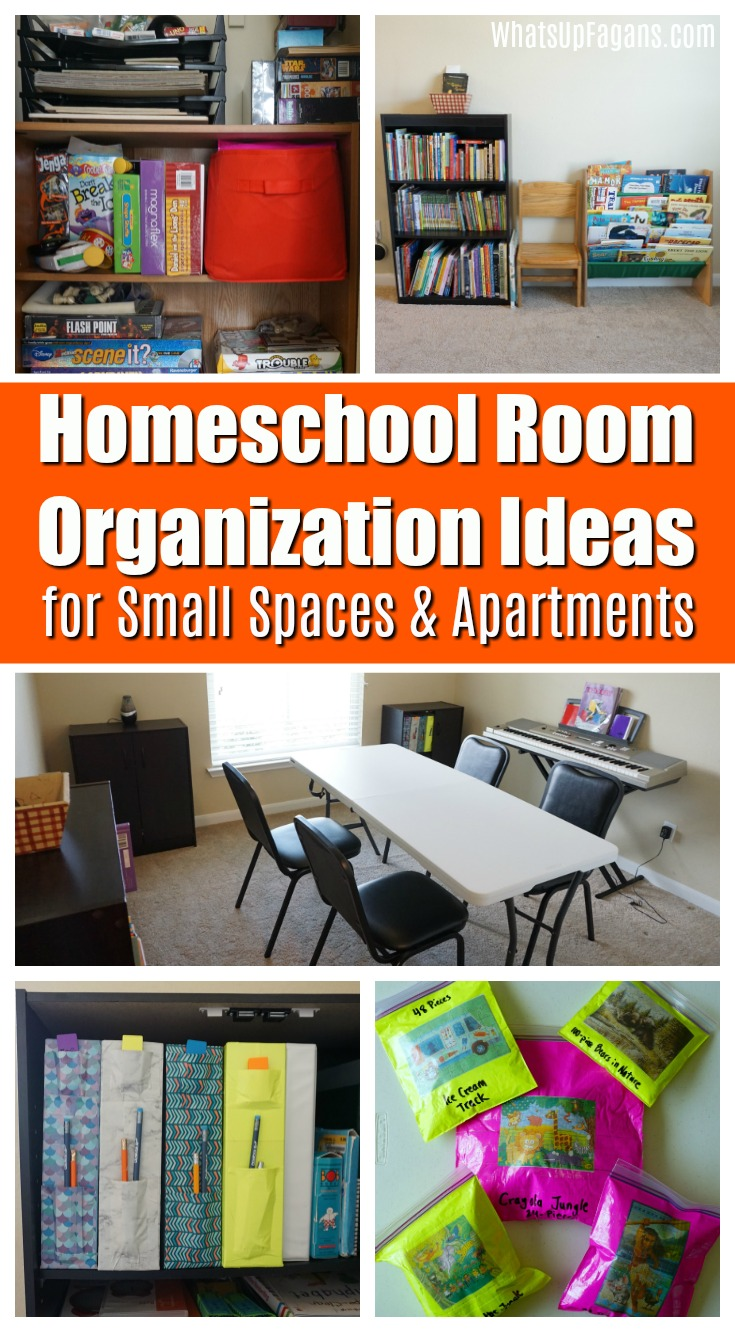 Love taking a homeschool room tour and checking out her homeschool room setup!! Great homeschool room organization ideas! I will for sure be using these homeschool organizing tips for small spaces and small houses! #homeschool #homeschooling #homeschoolroom #organization #organizing #organizationideas #homeschoolorganization #schoolroom #school