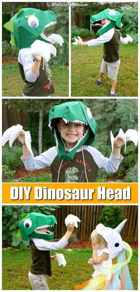 young boy wearing a homemade t rexcostume that is a felt dinosaur head and has felt claws