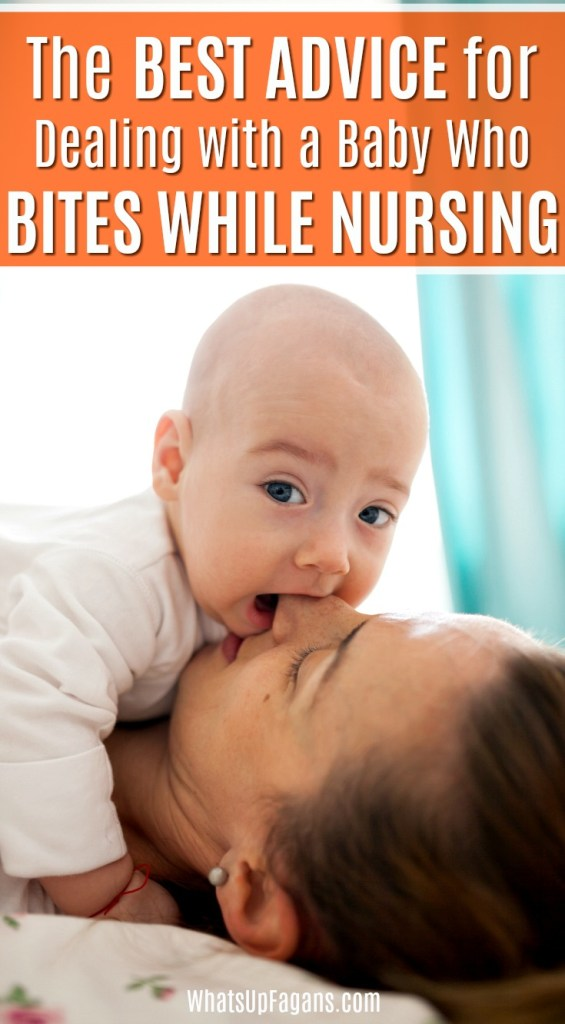 best advice for biting while nursing image - baby sucking on mom's nose