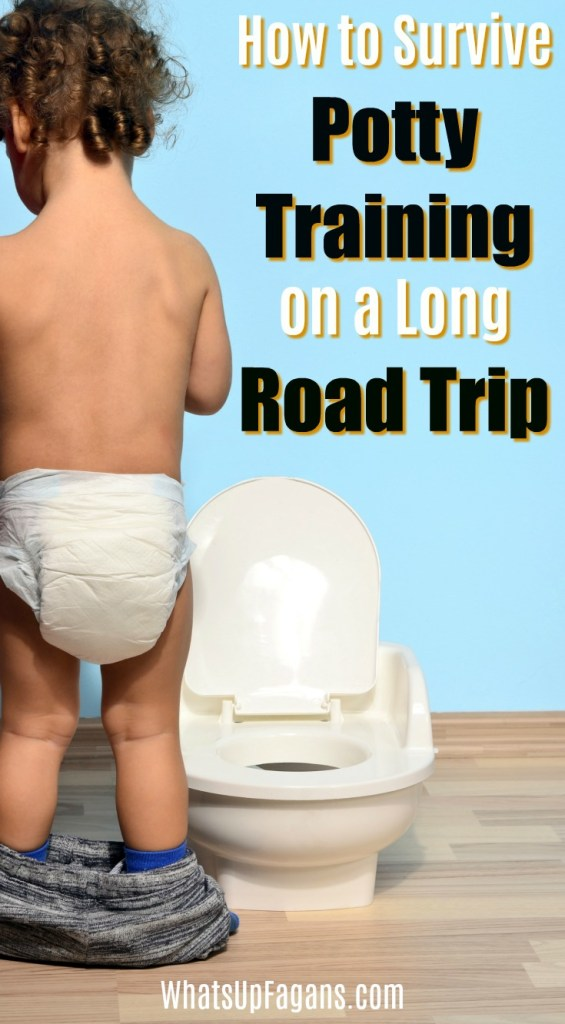 Cute Happy toddler sitting on potty outdoors - If you are wondering how to manage potty training and travel, this post is for you. Here are tips and hacks for making potty training travel easier and less messy thanks to handy things like potty training mats, travel potty seats, and more!