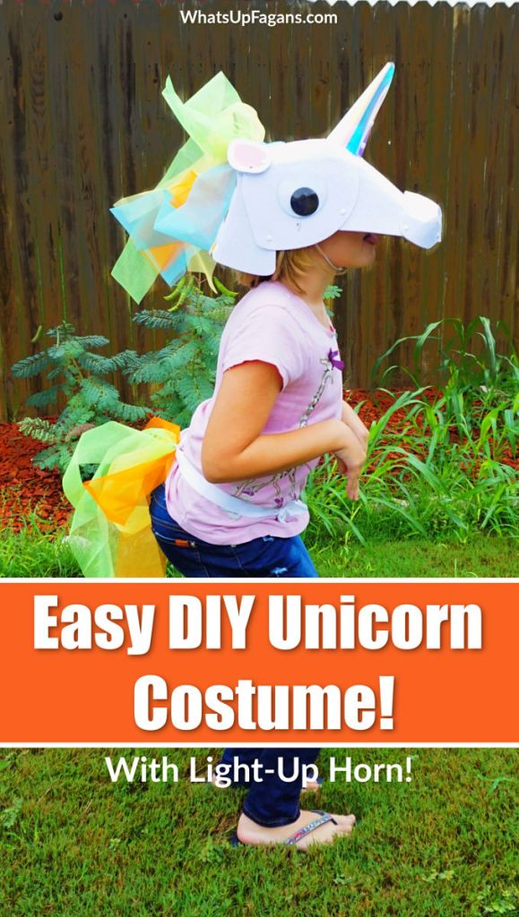 Looking for an easy DIY unicorn costume? Learn how to make a homemade unicorn costume for kids! Soon your child will be sporting a felt unicorn head with light up unicorn horn!