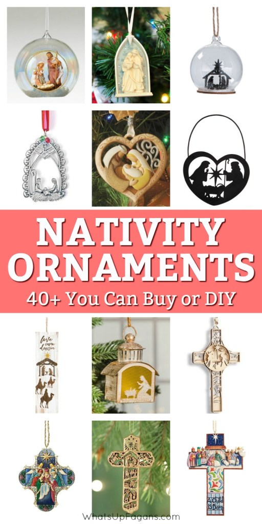 Fantastic list of religious Christmas nativity ornaments!! Make your own nativity ornament or other homemade religious Christmas ornament to give away to Sunday School teacher, friends, and family or simply browse through the collection of beautiful nativity Christmas ornaments you can purchase!