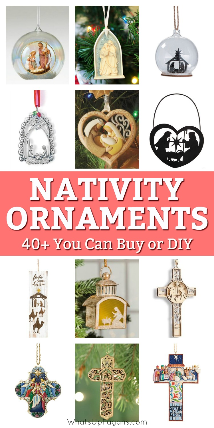 Fantastic list of beautiful Christmas nativity ornaments!! Religious ornaments make such great gifts for teachers, friends, and others and if you can make your own nativity ornament, it's even better! Can't wait to put one of these up on my Christmas tree this year! #Christ #Jesus #HolyFamily #Christmas #Christmastree #Christmastreeornament #ornament #ornaments #DIY #crafts #kidscrafts #holidays #religious #Christian #gift #giftidea #gifts