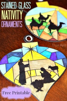 stained glass nativity ornament printables - free