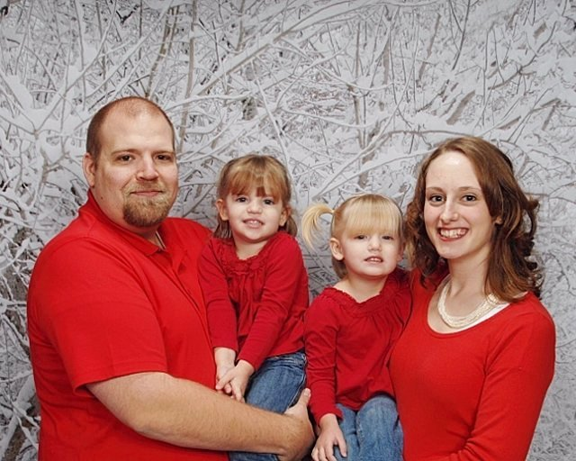 Family picture of four people - how to take family photos so they look good - tips for moms of families.