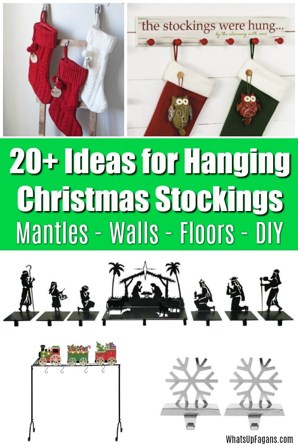 There are stocking holders for everyone, with or without the fireplace! Discover over 20 different Christmas stockings holders for mantles, fireplaces, walls, floors, stands, and DIY inspiration. #Christmas #holidays #Christmasstockings #stockings #holidaystockings #stockingstuffers #christmasdecor #christmascrafts #holidaycrafts #diy #crafts #christmasgifts #christmasstocking
