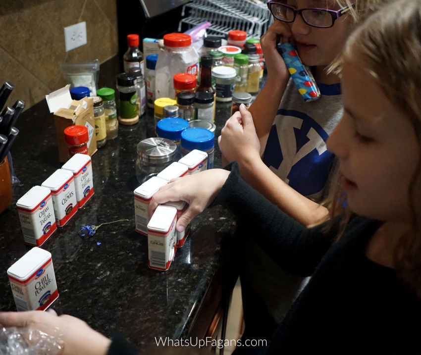 how to organize spices in a cabinet - girls putting keeping spice organized by putting them in alphabetical order