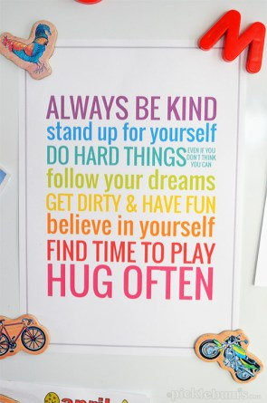 family mission statement rules for kids colorful sign framed and hung on the wall