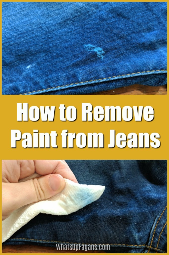 how to get dried paint out of jeans - collage image of blue paint on blue jeans and getting paint off pants