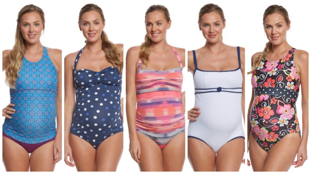 5cede49430ed2 Collage of many different modest maternity swimwear and modest maternity  swimsuits for pregnant women.