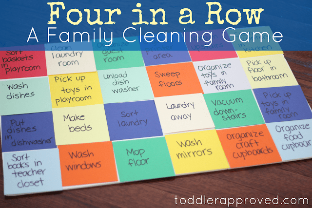 Four in a row family cleaning game from ToddlerApproved.com