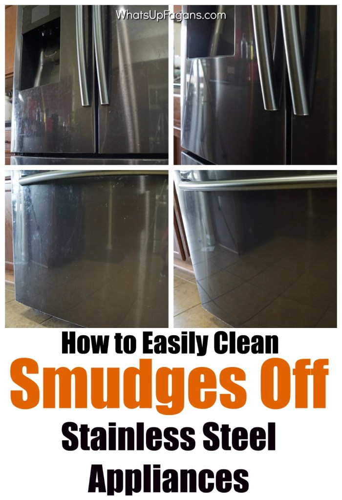 how to remove smudges and finger prints from stainless steel appliances in your kitchen, like on your fridge. Before and after of using Bar Keepers Friend Stainless Steel Cleaner and polish