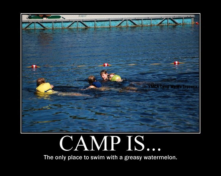 Camp is... The Only Place to Swim with a greasy watermelon post with boys swimming in a lake with a watermelon.