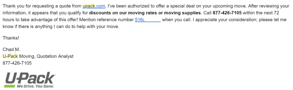 UPack quote email that encourage people to save money on Upack by giving them a call