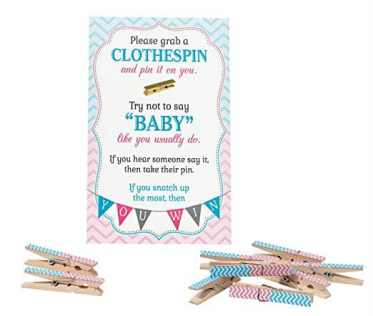 try not to say baby clothespin gender reveal party game