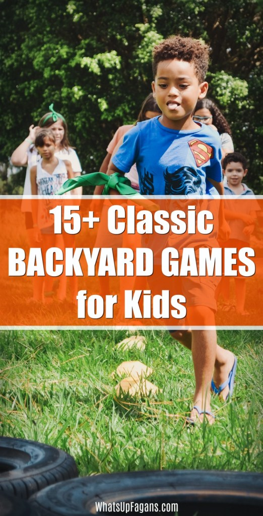 15+ classic backyard games for kids like catch, Frisbee, soccer, and more! Picture of a group of kids playing together in the backyard to play fun backyard games