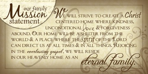 family mission statement example form LDS home