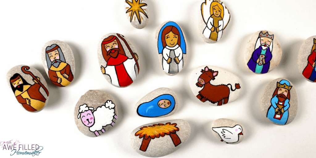 painted rock nativity craft set