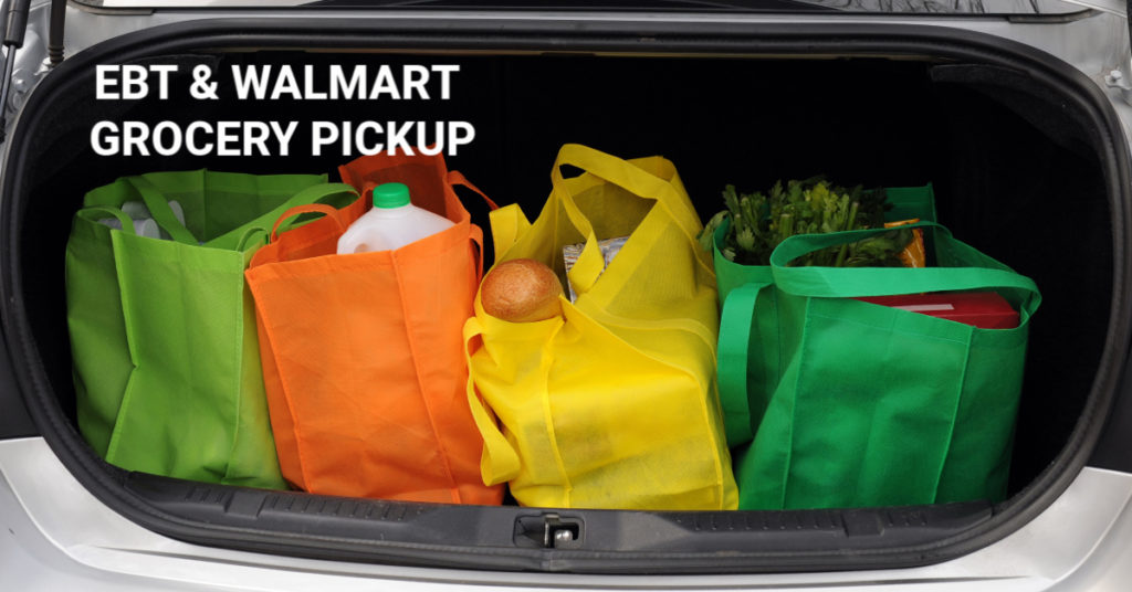 colorful grocery shopping tote bags in the trunk of a car that just used Walmart Grocery Pickup EBT