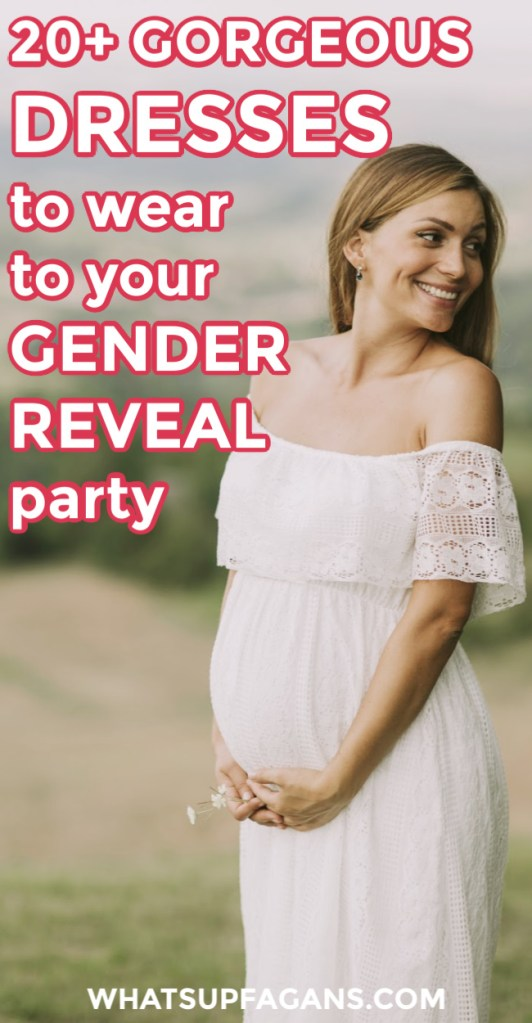 A selection of great blue and pink as well as white and gender-neutral gender reveal dresses and where to find these maternity dresses.