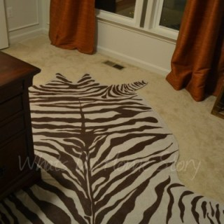faux zebra hide rug, diy drop cloth rug, diy faux zebra hide