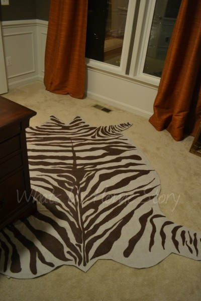 How to Make a Rug from Drop Cloth   DIY Zebra Rug
