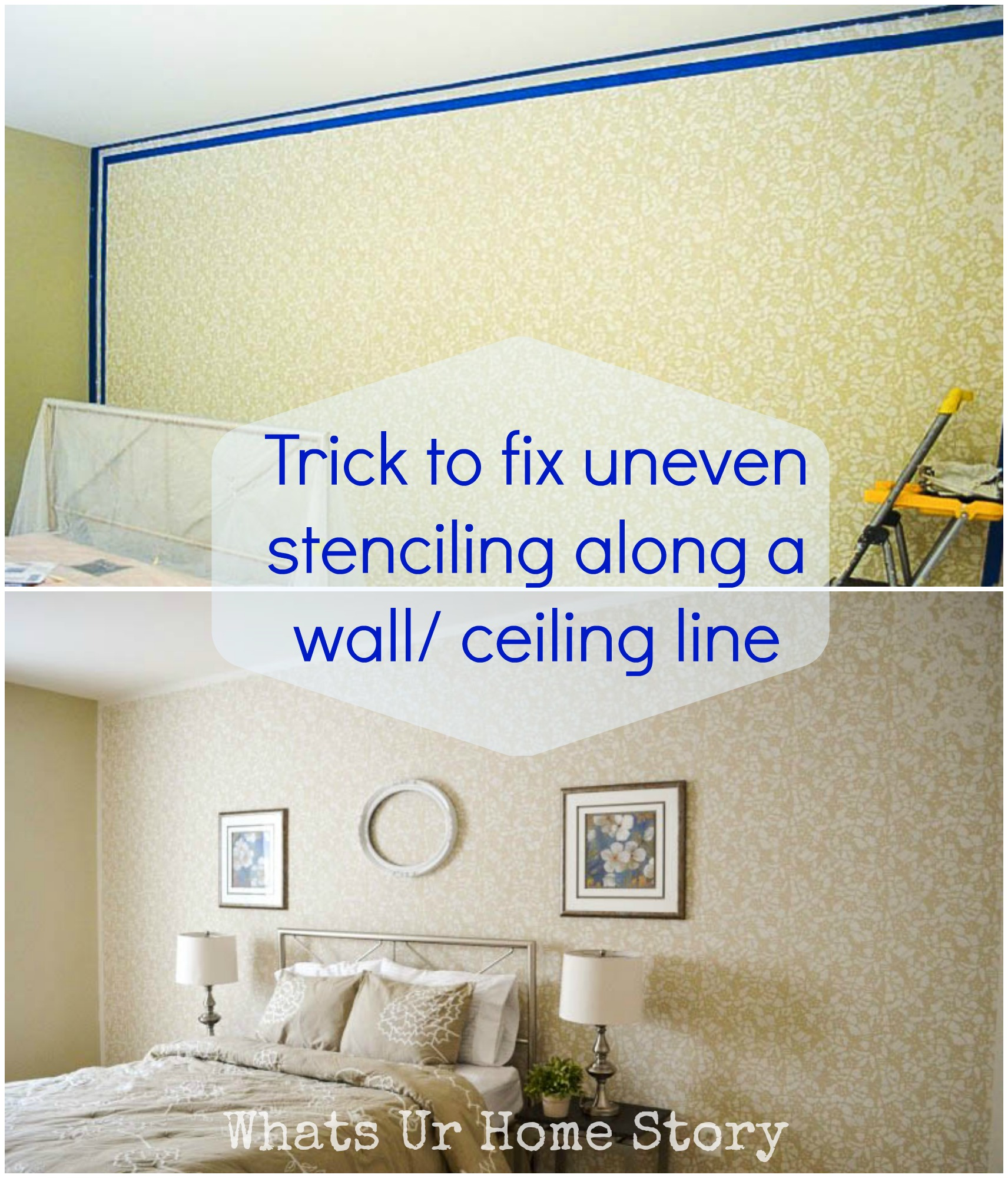 How to stencil a wall a trick to fix the uneven edges whats ur how to stencil a wall a trick to fix the uneven edges amipublicfo Gallery