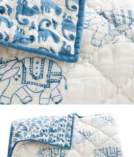 rickshaw design, elephant baby bedding, elephant quilt