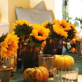 Simple Thanksgiving Table decorations, easy fall centerpiece