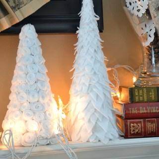Winter felt tree, diy paper cone trees