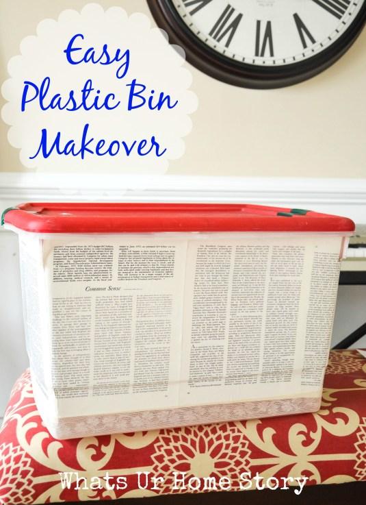 Plastic Storage Bin Makeover