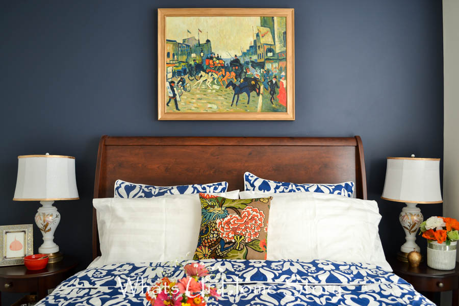 Navy and Coral Bedroom