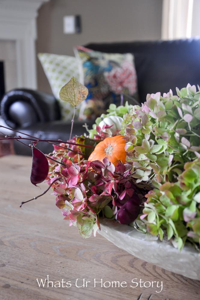 Rustic Centerpiece with Hydrangeas & Mini Gourds