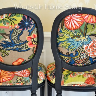 Chairs Makeover with Black chalk paint colorful print fabric Chiang Mai Dragon Fabric
