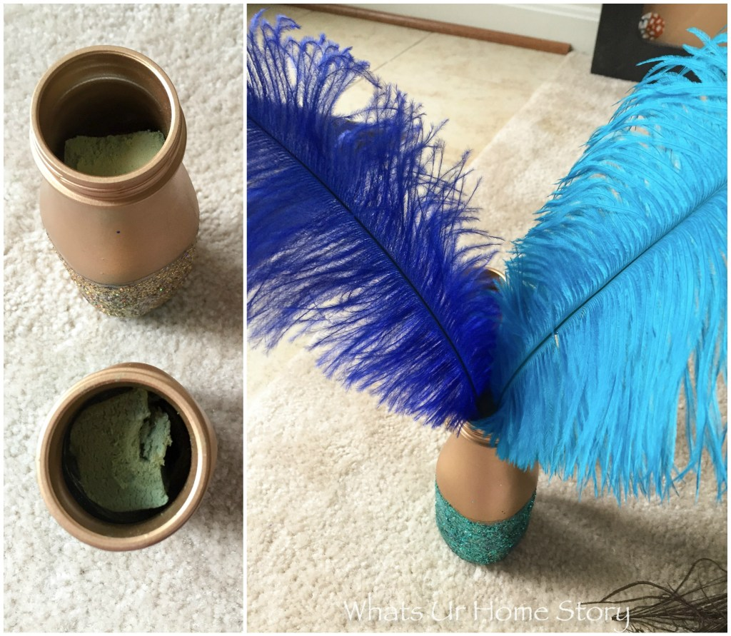 DIY Glitter Jar Peacock Centerpiece