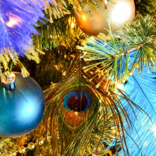 blue and green christmas tree in peacock theme