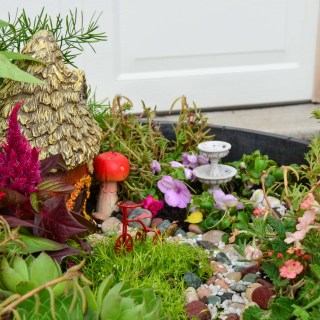 DIY Fairy Garden with a fairy house, fountain, pathways, and tricycle