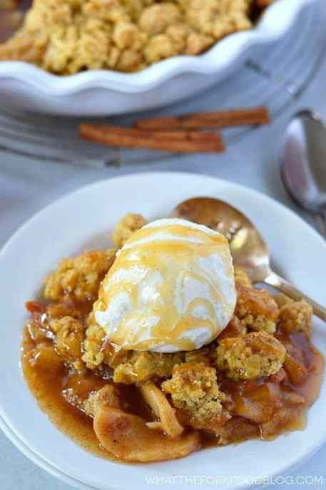 Gluten Free Caramel Apple Crisp for the perfect fall dessert. Dairy free option. Recipe from @whattheforkblog | whattheforkfoodblog.com | Desserts for fall | apple recipes | how to make apple crisp | apple crisp recipe | easy apple crisp |