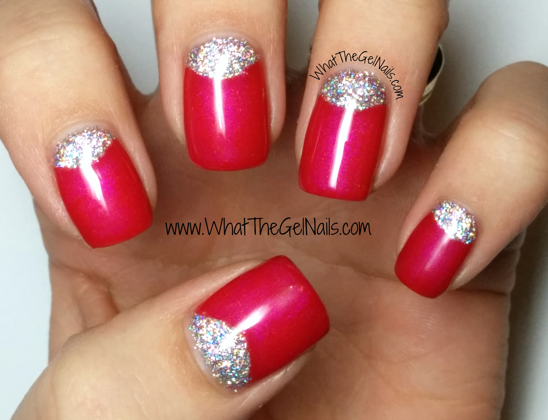 Gel Polish Half Moon Glitter Nails Using Ibd All Heart And Loose