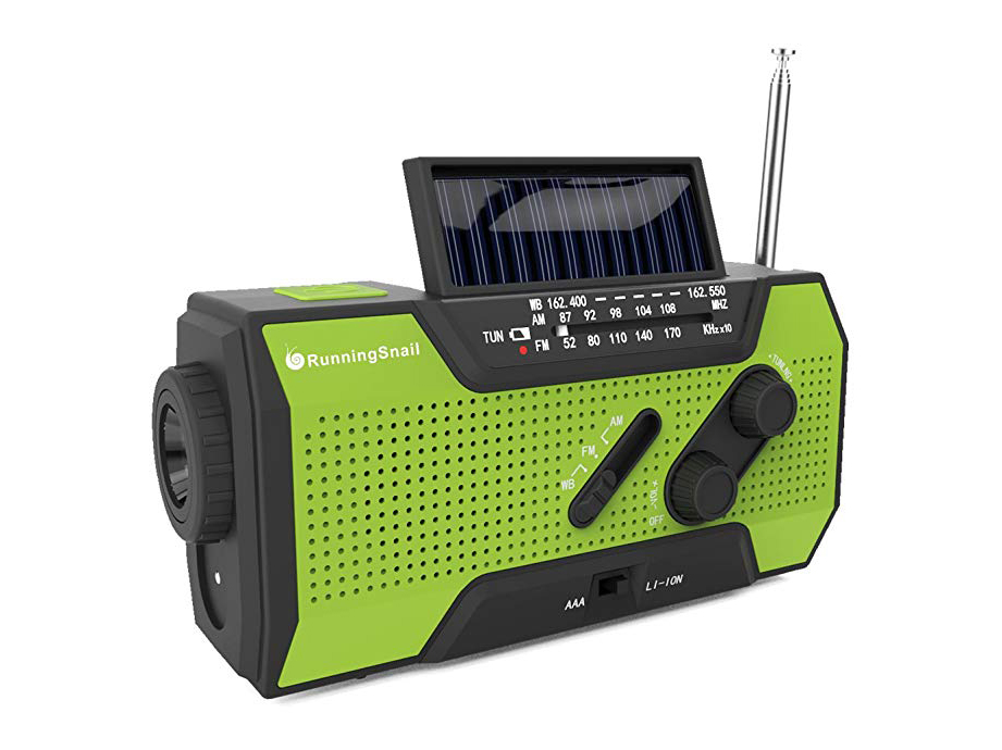 RunningSnail Solar Crank NOAA Weather Radio for Emergency with AM/FM, Flashlight, Reading Lamp and 2000mAh Power Bank