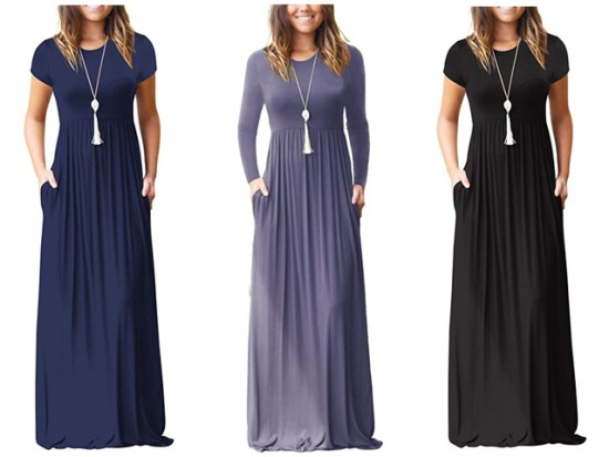GRECERELLE Women's Short Sleeve and Long Sleeve Loose Plain Maxi Dresses Casual Long Dresses