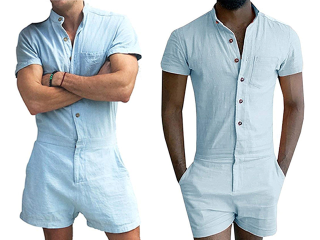 MNLYBABY Mens Fashion Short Sleeve Jumpsuit Casual Short Cargo Pants Rompers Overalls